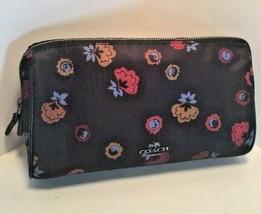 Coach Cosmetic Bag Floral Soft Nylon Mist Black   24283   M4 - $48.99