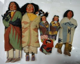LOT vintage 6pc SKOOKUM NATIVE AMERICAN INDIAN FAMILY DOLLS (one has sti... - $695.00