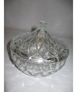 Glass Candy Nut Dish Pedal Design With Lid Line Design Handle Indonesia Kig - $9.95