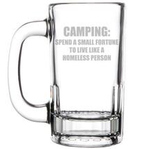 12oz Beer Mug Stein Glass Camping Homeless Funny - $12.86
