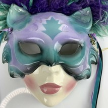 Vtg Clay Art Theater Mask Cats Purple Green Feathers Wall Decor Missing ... - $84.11