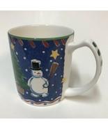 Mikasa Christmas Glow Coffee Cup Mug DW108 Snowman Reindeer Trees Star S... - $19.79