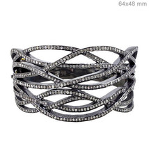 925 Sterling Silver Pave 4.3ct Diamond Designer Bangle Bracelet 14k Gold... - $1,114.41