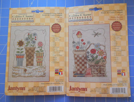 "Lot of 2 JANLYNN Counted Cross Stitch Kits ""Flowers"" & ""Flower Baskets"" New - $19.98"