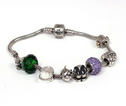 "Authentic Sterling Pandora 7"" Inch Barrel Clasp Bracelet with 8 925 Charms. - $84.15"