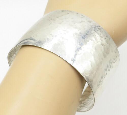 925 Sterling Silver - Vintage Hammered Texture Wide Cuff Bracelet - B5011