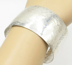 925 Sterling Silver - Vintage Hammered Texture Wide Cuff Bracelet - B5011 - $87.80
