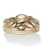 PalmBeach Jewelry 18k Yellow Gold over .925 Sterling Silver Puzzle Ring - €51,54 EUR