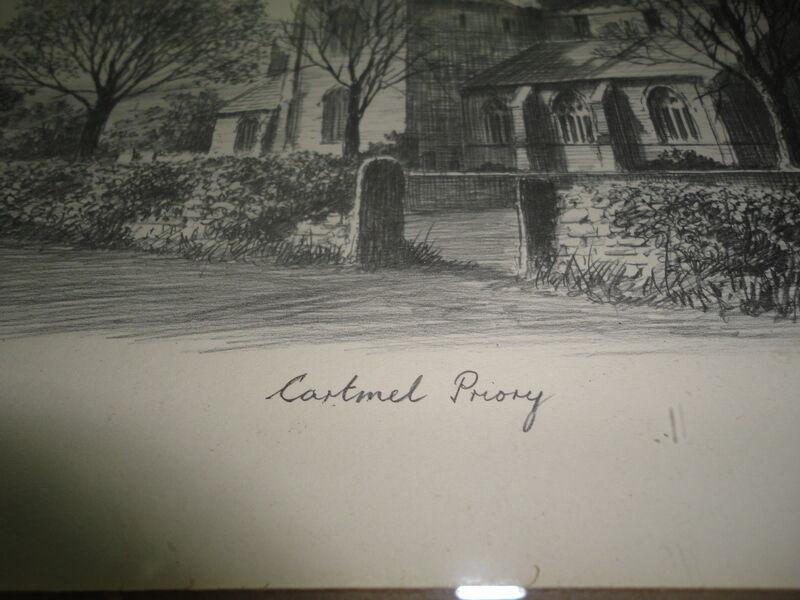 Original Art UK Artist JUDGES Pencil Sketch Cartmel Priory Cumbria Framed image 5