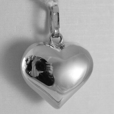 18K WHITE GOLD ROUNDED HEART CHARM PENDANT SHINY 0.98 INCHES MADE IN ITALY