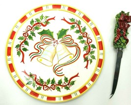"""Sonoma Hand Painted Christmas Cheese Plate & Knife Set 9"""" Holly Berry Be... - $18.69"""