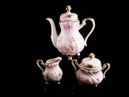 Vintage Lefton Teapot Creamer sugar set - porcelain pitcher - pink roses... - $145.00