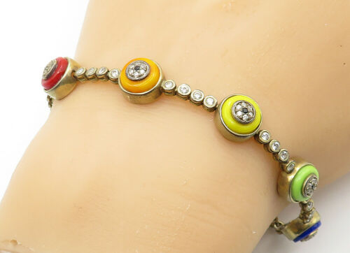 925 Sterling Silver - Vintage Topaz & Sapphire Accent Chain Bracelet - B6306