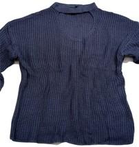 Women Sweater Cold Weather,Soft V-Neck W/Round Neckline Indigo/Blue Color Size M - $49.99