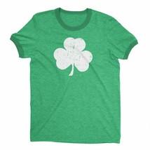 Retro Style Shamrock T-Shirt Ringer Distressed Vintage Green Irish St... - $19.98+