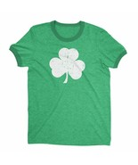 Retro Style Shamrock T-Shirt Ringer Distressed Vintage Green Irish St... - $19.98+