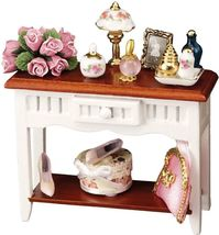 Dollhouse Decorated Side Table Reutter 1.495/1 White Wood Miniature - $66.50