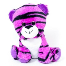 "Purple Tiger Plush 7"" Glitter Eyes Small Stuffed Animal Toy 2016 - $11.74"