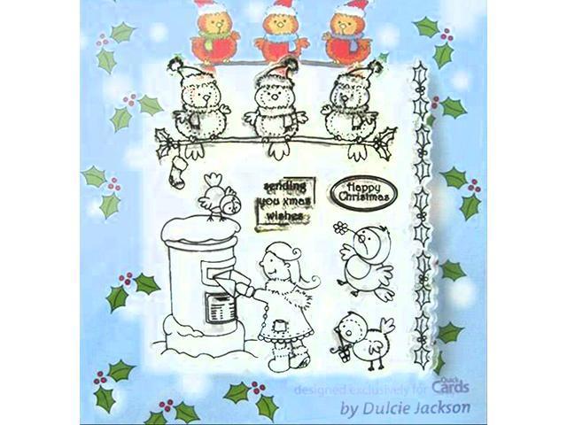 Dulcie Jackson Christmas Clear Cling Stamp Set, 7 Pieces