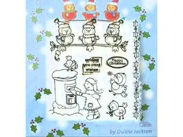 Dulcie Jackson Christmas Clear Cling Stamp Set, 7 Pieces - $9.99