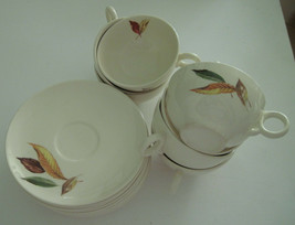 7 Cups 8 Saucers Vintage Universal Ballerina Fall Autumn Leaves Permical - $29.70