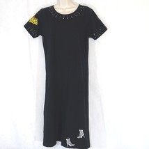 Michael Simon Lite Stretch Knit Dress Women Size S Black T-shirt Rhinest... - $24.73