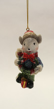 """3.35"""" HAND PAINTED RESIN HOLIDAY MOUSE HOLDING WREATH CHRISTMAS ORNAMENT... - $8.88"""
