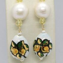 Pendientes de Oro Amarillo 750 18 CT Perlas Fw y Gota Pintada a Mano Made IN image 2