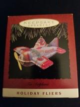Hallmark ornaments 1993 holiday fliers tin airplane - $7.91