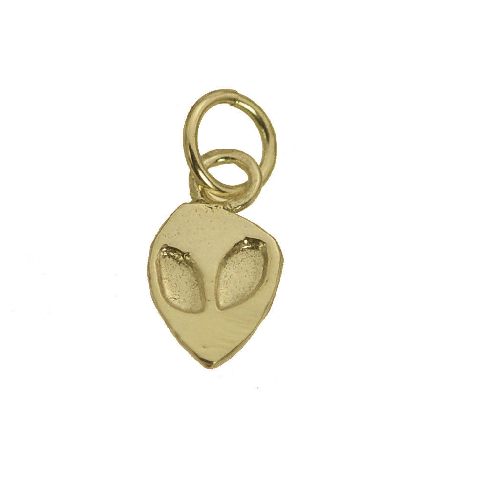 10K REAL YELLOW GOLD SOLID Alien head face UFO small Charm Jewelry Jewellery New