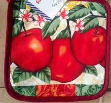 "2 PRINTED Kitchen Pot Holders, 3 RED APPLES 7"" x 7"", burgundy back by AM - $7.91"