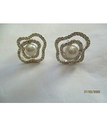 """Vintage Abstract Rhinestone Faux Pearl Silver Clip Earrings  1"""" signed W... - $14.84"""