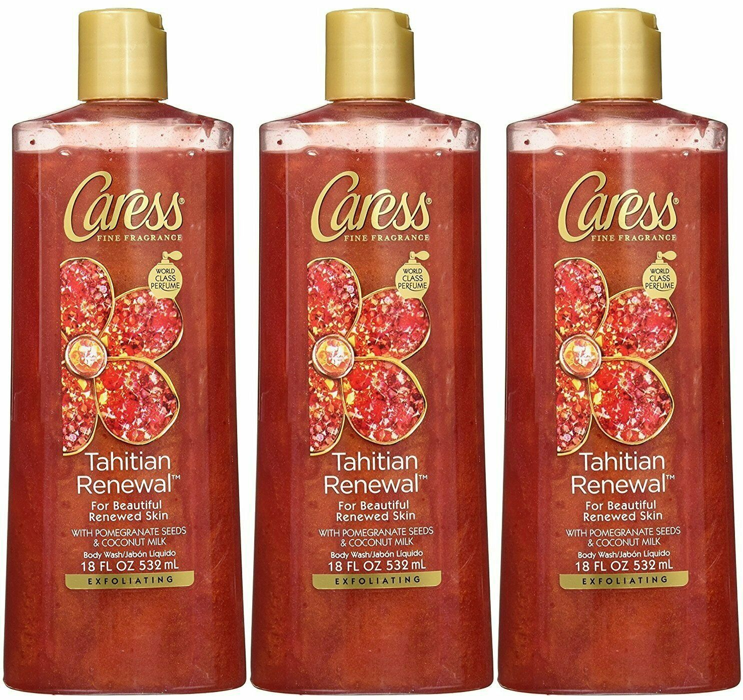 Primary image for Caress Tahitian Renewal Exfoliating Body Wash, 18 Ounce (Pack of 3)