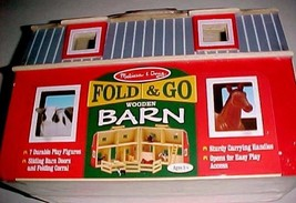 Melissa & Doug Fold & Go Wooden Red Gray Farm Barn 7 Figures Item No. 3700 New  - $49.49