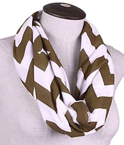 Chevron Infinity Scarf Cotton Double Layer Loop (Coffee)