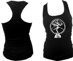 Nataraja Dancing Shiva God Yoga symbols black women racerback slim fit tank top - $12.99