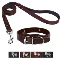 Bark Lover Designer Textured Grain Collar and Leash Set (Simulated Leather) (M,  - $33.38