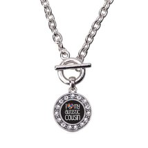 Inspired Silver I Love My Autistic Cousin Circle Charm Toggle Necklace C... - $13.71