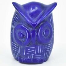 Vaneal Group Hand Carved Kisii Soapstone Blue Owl Figurine Handmade Kenya