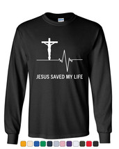 Jesus Saved My Life Long Sleeve T-Shirt Christian Religion Faith God - $9.51+