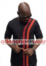Odeneho Wear Black Polished Cotton Top &Bottom/Red Design.African Clothing. - $123.75+