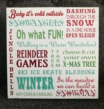 "Ashland Christmas Wood Tabletop Décor Signs 7 3/4"" x 7 3/4"". Winter Snow... - $8.59"