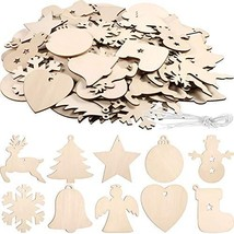 Tatuo 120 Pieces Unfinished Wooden Ornaments Christmas Wood Ornaments Ha... - $27.16