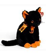 Fraidy the Black Cat with Orange Paws Ty Beanie Baby MWMT Halloween Retired - $8.86