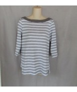 Faded Glory top tee  Large  white gray stripe boat neck 3/4 sleeves - $12.69