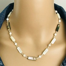 """Vintage Abalone Mother Of Pearl MOP Beaded Choker Necklace 17"""" - $21.78"""