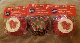 Valentine Party Heartily Standard Baking Cups 3 Pack 75 ct Wilton 5515 5523 - $8.79