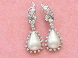 ESTATE 1.50ctw DIAMOND MABE PEARL PEAR DROP WHITE 18K COCKTAIL CLIP EARR... - $2,965.05
