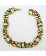 Vintage Faux Moonstone Bracelet Gold Tone Signed Goldette NY Victorian R... - $49.49