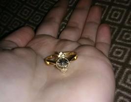 Fragrant Jewels Lucky Egg Gold Patina Swarovski Crystal Ring Size 7 - $15.00